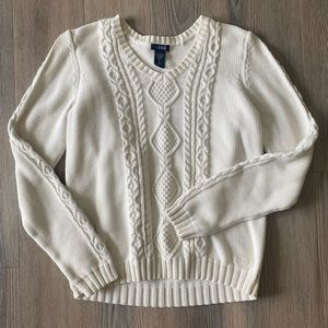 Izod White Cable Knit Sweater